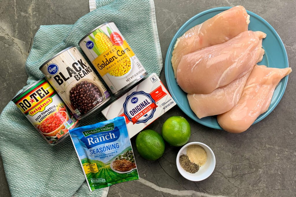 All the ingredients needed to make Mexican ranch shredded chicken.